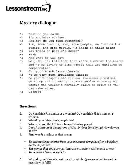 Lessonstreamby Jamie Keddie Say that grammatically – Writing Dialogue Worksheet